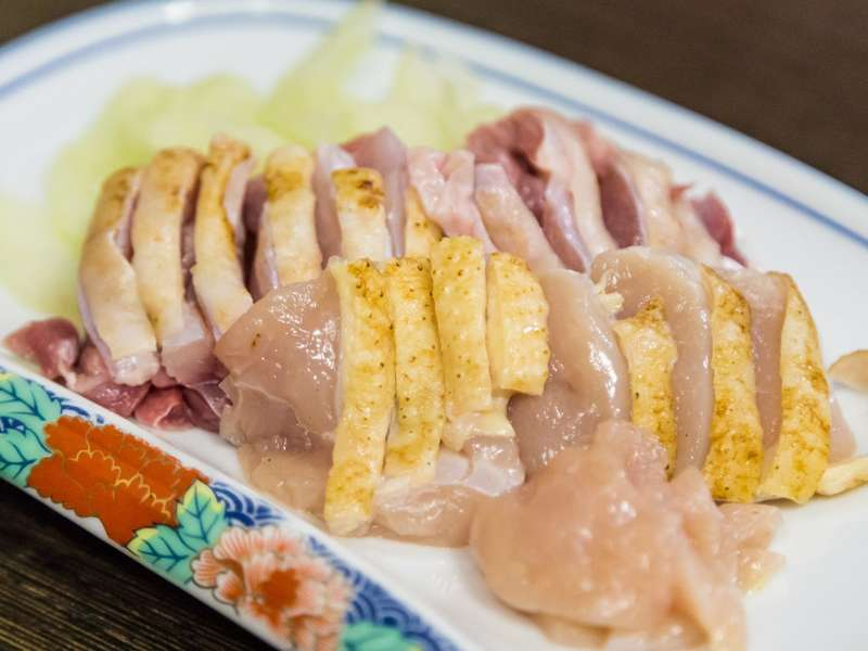Raw chicken sashimi
