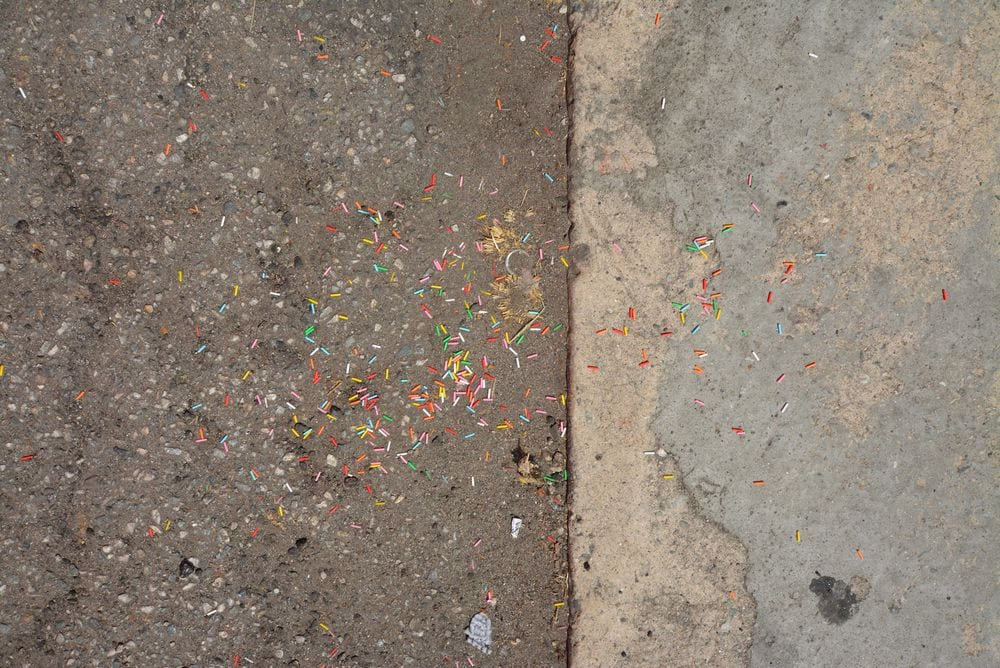 sprinkles on the pavement