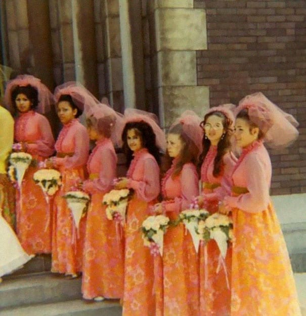 b3a18cd714d ... need to recreate it on their bridesmaids. While women had to cover  their heads in churches in the  70s