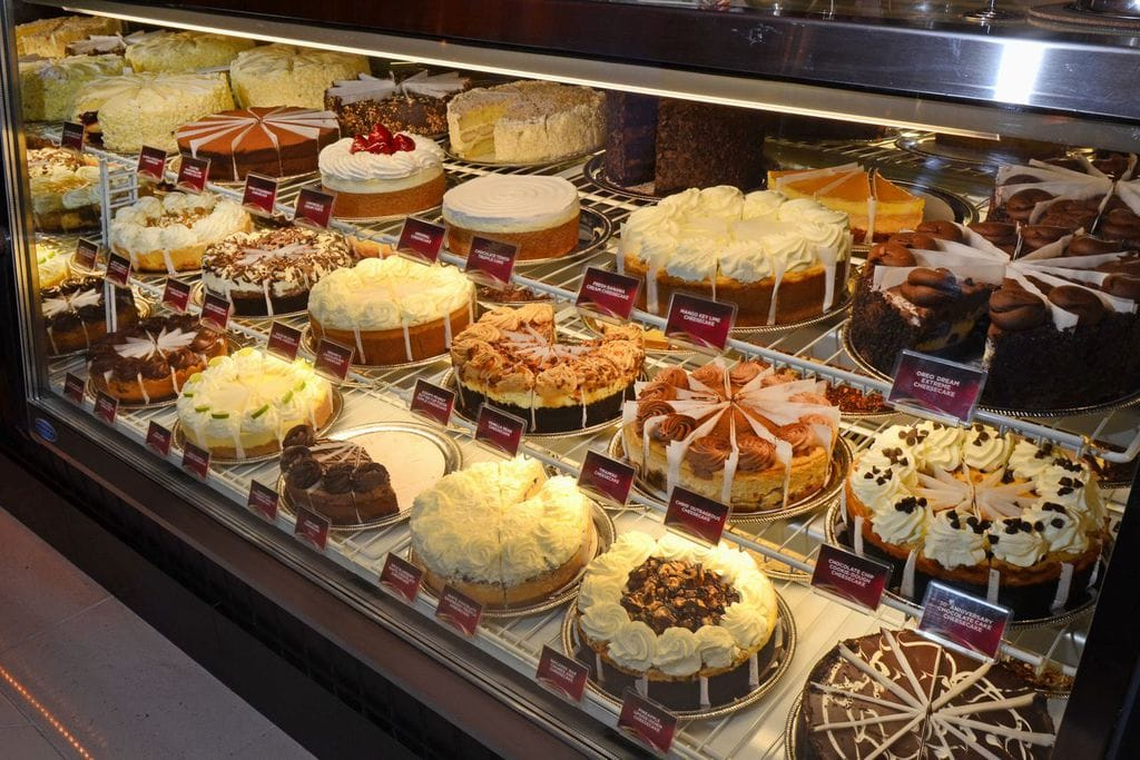 The Cheesecake Factory's selection of cheesecakes and sweets