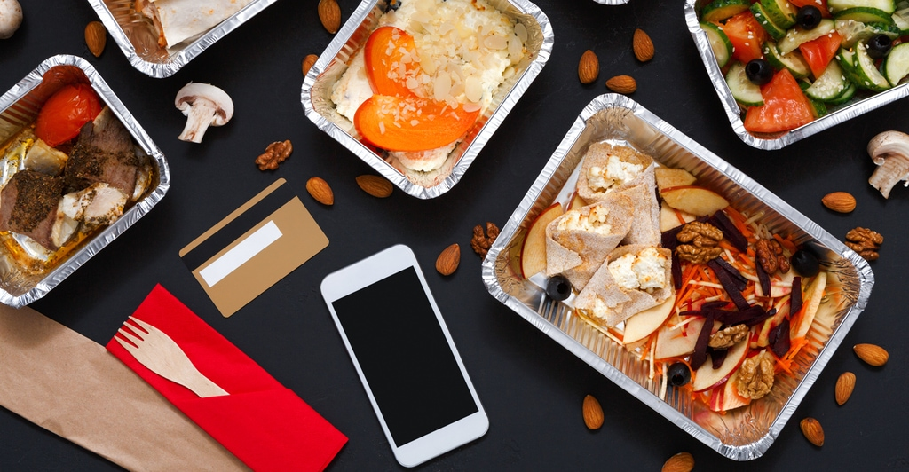 Restaurant food displayed on a table