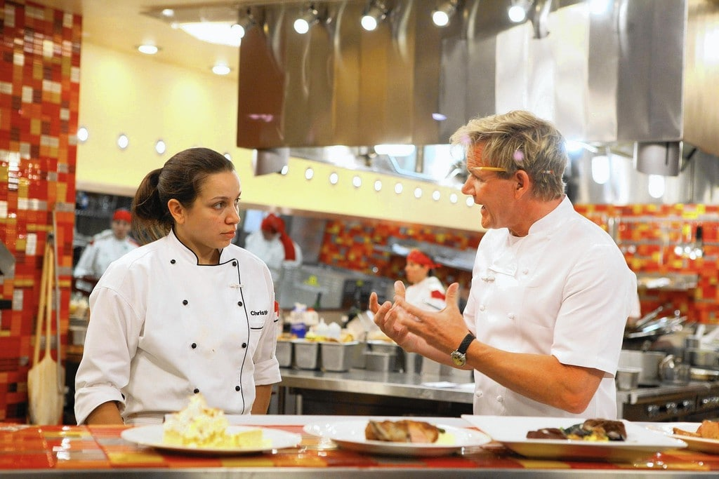 Gordon Ramsay during an episode of Hell's Kitchen, talking to one of the contestants