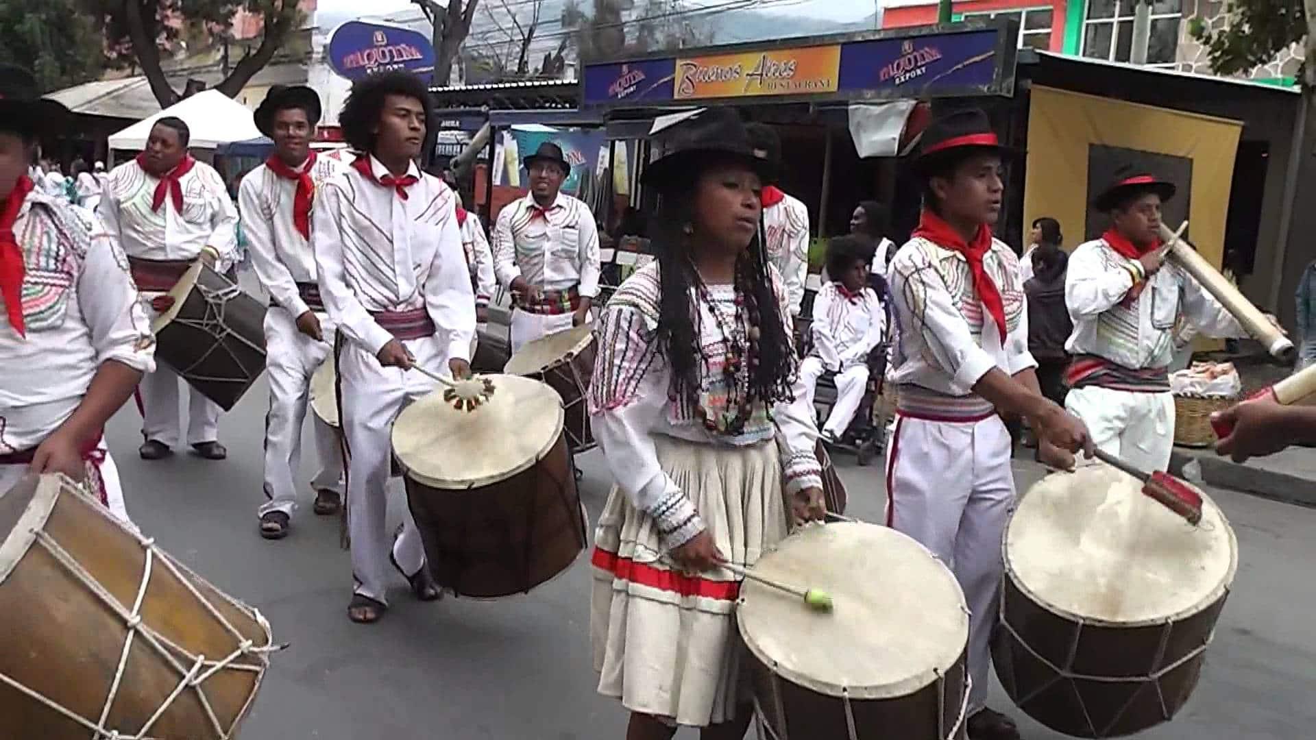 People dancing Saya on the street