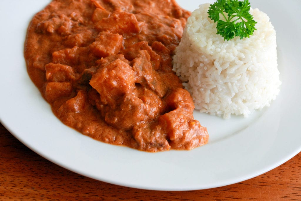Peanut Butter Beef Stew served with white rice