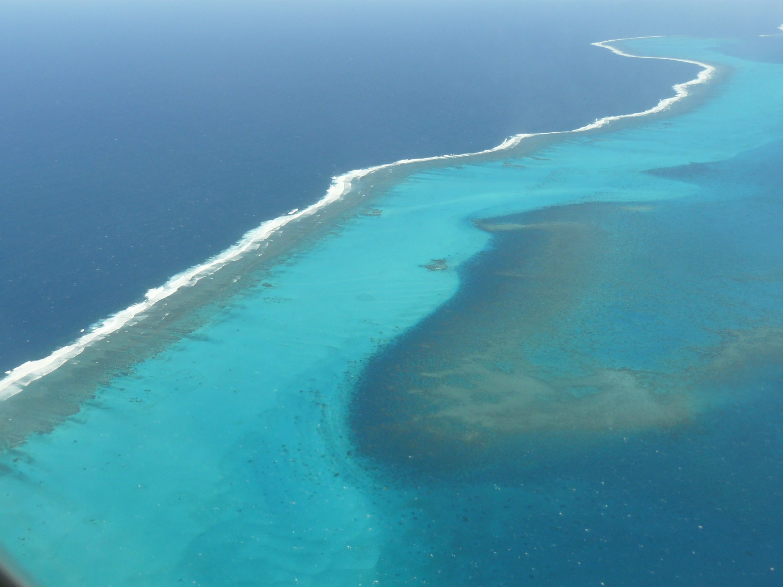 The New Caledonian Barrier Reef, a UNESCO World Heritage Site, seen from above.